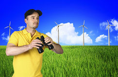 Man and wind turbine  landscape Royalty Free Stock Photography