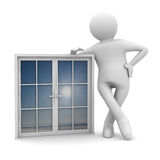 Man with window on white background Stock Image