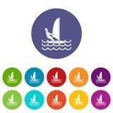 Man on windsurf set icons Royalty Free Stock Photo