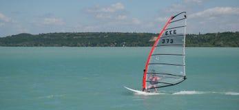 Man windsurfing. In the big lake Stock Image