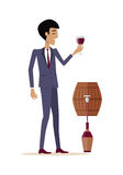 Man with Wine in Alcohol Department Store Royalty Free Stock Photography