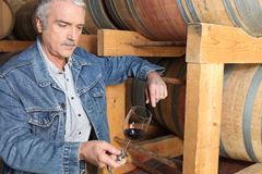 Man in wine cellar Royalty Free Stock Images