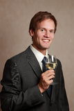 Man with wine glass Stock Photography