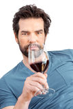 Man with wine glass Stock Photo