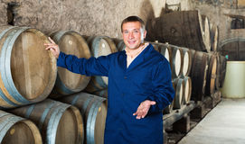 Man wine house technician working in storage. With wooden barrels Stock Image
