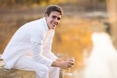 Man wine pond Stock Image