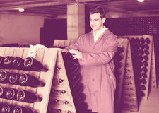 Man winery   working in aging section with bottle racks in cella Royalty Free Stock Image