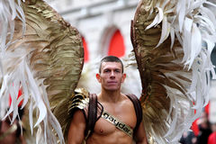 Man in winged costume. A man in costume with wings during Manchester Pride annual event celebrating lesbian, gay, bisexual and transgender life on the 28th of Royalty Free Stock Photo