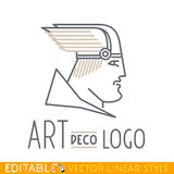 Man in winged helmet. Head of Greek or Viking god. Logo template. Editable vector graphic in linear style. Man in winged helmet. Head of Greek or Viking god Stock Photos