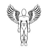 Man with wings. Angel figure. Royalty Free Stock Photos