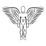 Man with wings. Angel figure. Vector illustration Royalty Free Stock Images