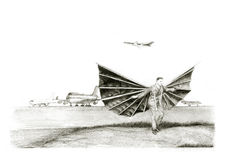 Man with a wings. Hand drawing pencil man with a wings vector illustration