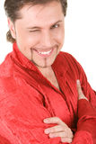 Man winks at camera royalty free stock images