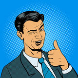 Man winks and shows good hand gesture vector Royalty Free Stock Images