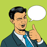 Man winks and shows good hand gesture vector Royalty Free Stock Photos