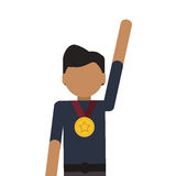 Man winner medal champion award. Isolated illustration stock photography