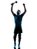 Man  winning holding trophy cup silhouette Royalty Free Stock Photo