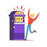 Man winning jackpot at slot machine. Colorful cartoon character vector Illustration Royalty Free Stock Images