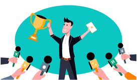 The man wins a cup. Art illustration vector illustration