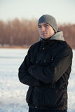 Man in winter. Portrait of young Polish man in winter Stock Image
