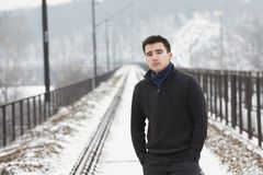 Man in winter Royalty Free Stock Images
