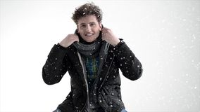 Man in winter cloth with snow stock video