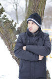 Man with winter clothes Stock Photo
