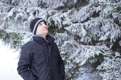 Man with winter clothes Stock Images