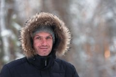 Man in winter clothes Stock Image
