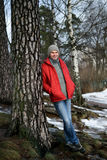 Man in winter clothes outdoors Stock Images