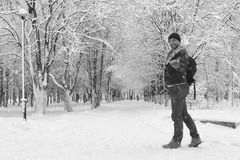A man in winter clothes on the street Royalty Free Stock Photo