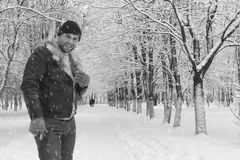 A man in winter clothes on the street Royalty Free Stock Photography