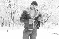 A man in winter clothes on the street Royalty Free Stock Image
