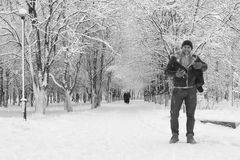 A man in winter clothes on the street Royalty Free Stock Images