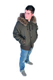 Man in a winter coat Stock Images