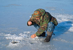 Man on winter fishing 24 Royalty Free Stock Photography