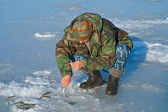 Man on winter fishing 26 Royalty Free Stock Photo