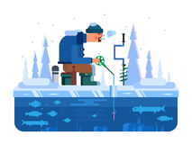 Man on winter fishing Royalty Free Stock Image