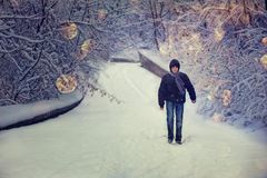 Man in a winter forest Royalty Free Stock Images