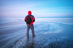 Man and winter ice. Royalty Free Stock Photos