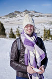 Man in the winter mountain Stock Photography