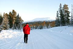 Man on a winter road. Man in a red jacket walking in a winter landscape Royalty Free Stock Photo