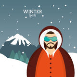 Man winter sport with glasses jacket and mountains landscape Royalty Free Stock Photography