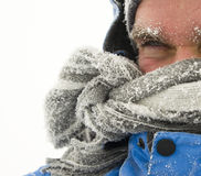 Man in winter storm Stock Photos