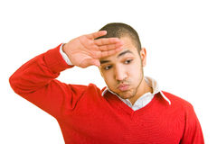 Man wiping forehead Stock Photography