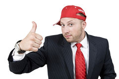 Man wishing good luck. On isolated background Royalty Free Stock Photo