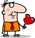 Man wit valentine hearth lollipop cartoon Stock Photos