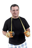 Man With A Tape Measure Around Neck Stock Photo