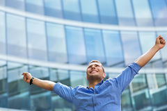 Free Man With Arms Raised Outdoors Royalty Free Stock Image - 73586156