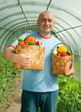 Man With Baskets Stock Image